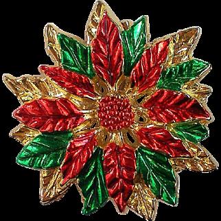 Poinsettia Brooch for Christmas / Hanukkah Holidays