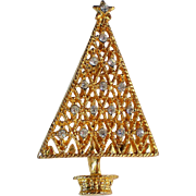Sparkling Rhinestone Studded Geometric Christmas Tree Pin for the Holidays