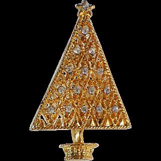 Sparkling Rhinestone Studded Geometric Christmas Tree Pin for the Holidays