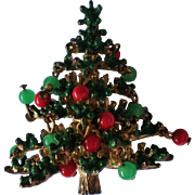Vintage 3D Christmas Tree Pin with Dangling Ornaments