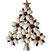 Snowy Flowers Christmas Tree Pin with Ruby Red Rhinestones
