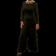 Jose' de Lema Black Jumpsuit with Beaded Collar