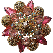 Pink Filigree Multi-layered Brooch