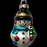 Vintage Mercury Class Miniature Snowman Christmas Tree Ornament
