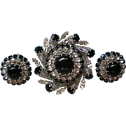 Austrian Crystal Filigree Brooch with Clip Earrings