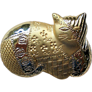 "Cat Pin with ""Quilted"" Gold tone Metal by AJC"