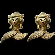 Vintage Geisha Asian Lady Brooch Pins