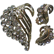 Rhinestone Swirl Pin with Matching Clip Earrings Set