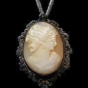 Vintage Sterling Silver Filigree Cameo Pendant Necklace