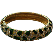 Green Enamel Gold tone Metal and Rhinestone Hinged Bangle Bracelet