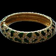 Green Enamel Gold tone Metal and Rhinestone Hinged Bangle Bracelet