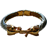 Elephant Hinged Bangle Bracelet with Silver and Gold tone Metal