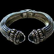 Silver tone Hinged Bangle Bracelet