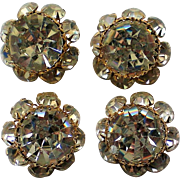 Enormous Mid-Century Rhinestone Buttons, set of Four