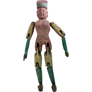 Primitive Wooden Hand Carved Man Peg Doll