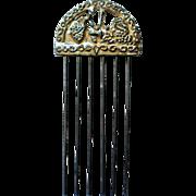 Vintage Silver tone Metal Hair Comb