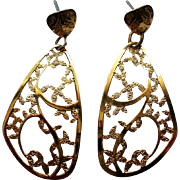 Dazzling Gold tone Dangle Pierced Earrings
