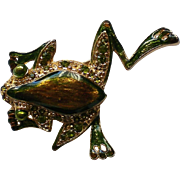Flashy Frog Pin with Green Rhinestones