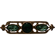 Green Rhinestone Sash Pin