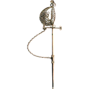 Silver Plated Filigree Sword Stick Lapel Pin