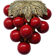 1930's Cherry Red Grape Cluster Dress or Fur Clip