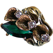 18K GE Vargas Emerald Green Antiqued Costume Ring