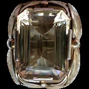 Large Citrine 14K Gold Custom Made Man's Ring