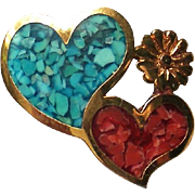 Southwestern Hat, Lapel or Tie Pin with Two Hearts