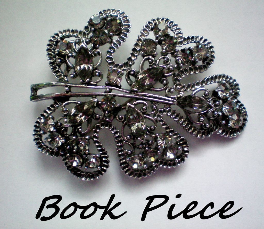 Book Piece - Gun Metal and Gray Rhinestone Brooch