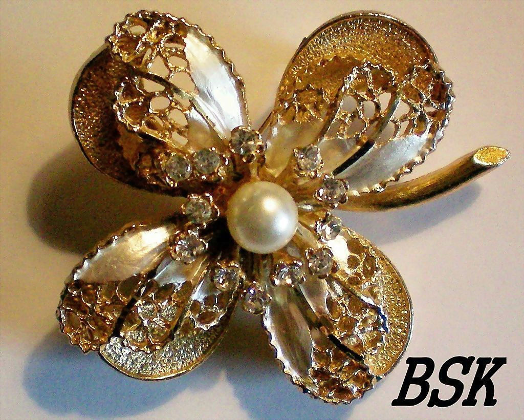 Signed BSK Multi Layered Flower Brooch