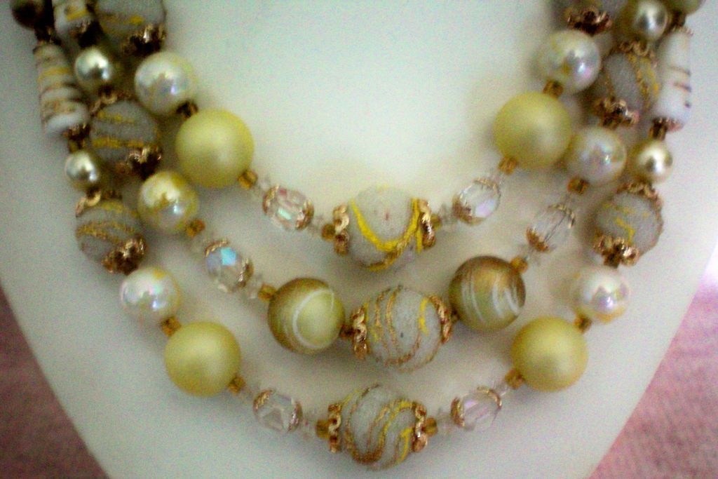 Triple Strand Wedding Cake Glass Bead Necklace