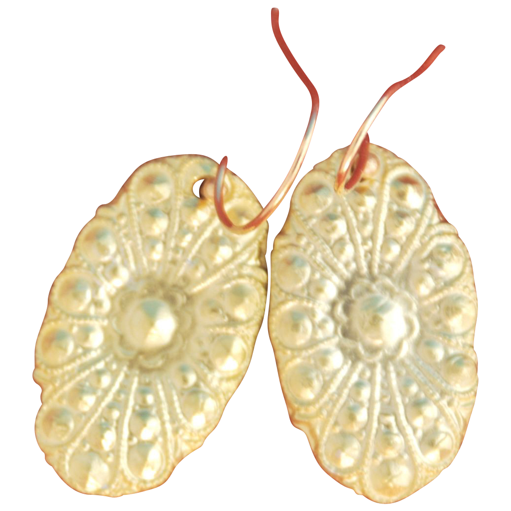 Solid 22k Gold Floral Drop Earrings