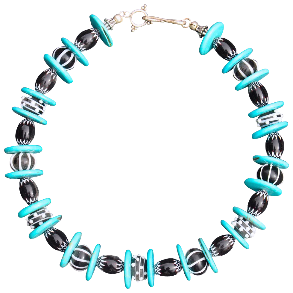 Handmade Black and White Lampwork & Turquoise Necklace