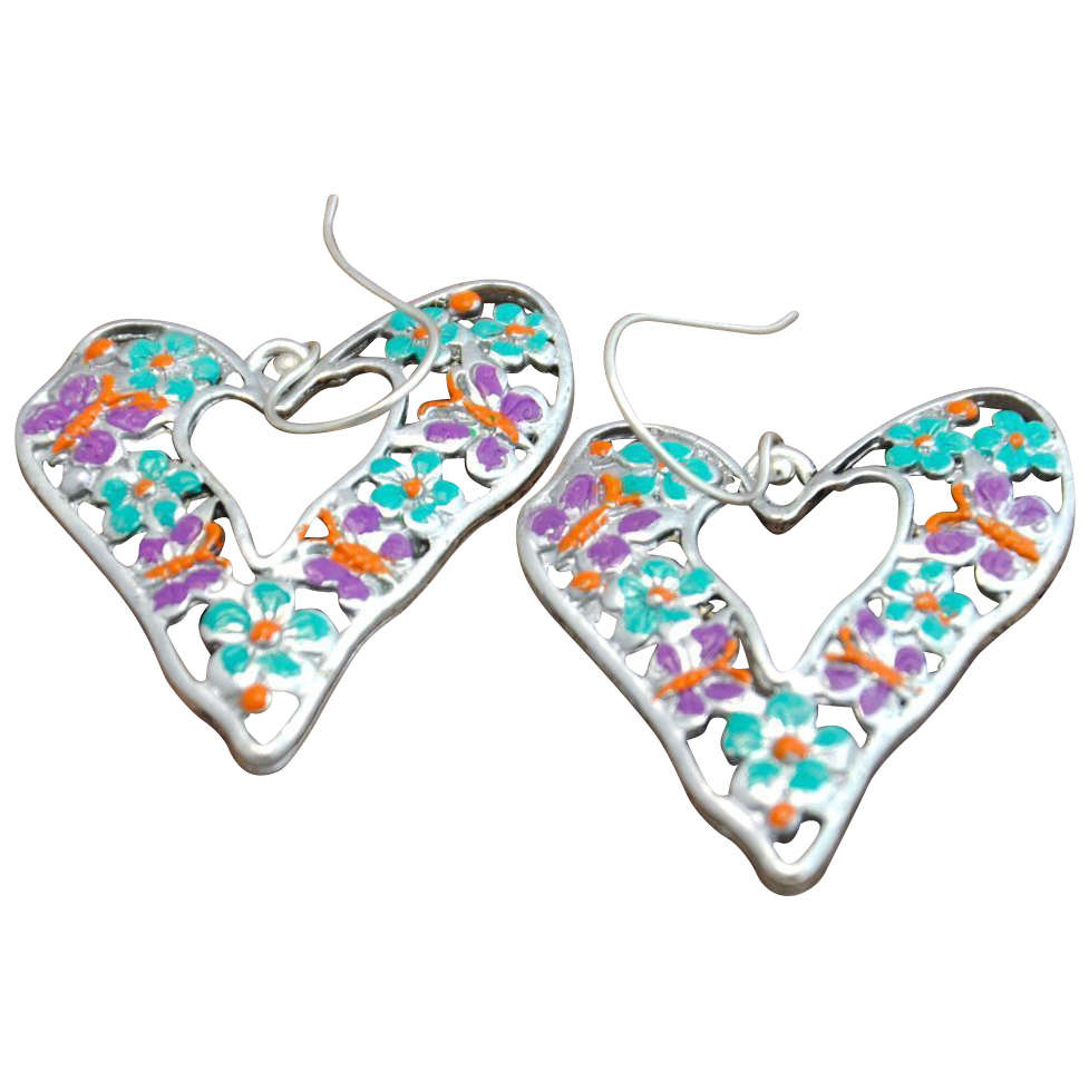 Deal of the Day! Hand-patinaed Crazy Heart Earrings