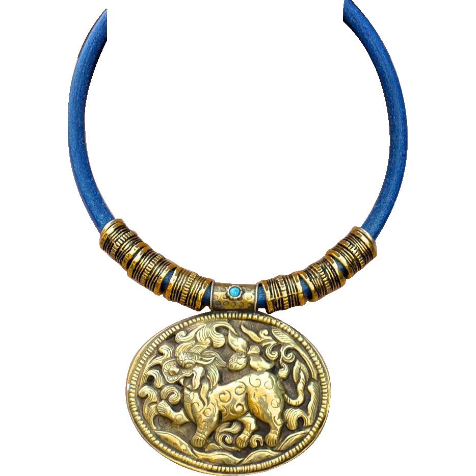 Nepalese handmade brass repousse dragon pendant necklace on denim nepalese handmade brass repousse dragon pendant necklace on denim bld jewelry for boomer girls ruby lane aloadofball Images