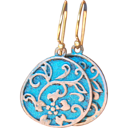 "Verdegris and Gold-Tone Patina ""Coin"" Earrings"