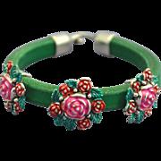 Debutante Biker:  Hand-patinaed Roses Leather Bracelet