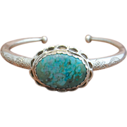 Handmade Fine Silver Chrysocolla Bangle