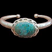 Handmade Fine Silver Chrysocolla Bangle