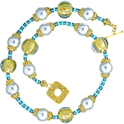 Wedding Collection Murano Glass Beads, Bali Vermeil, and Shell Pearl Necklace