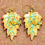 Chimayo Hand Patinaed Adobe Brown Lady Bug Leaf Earrings