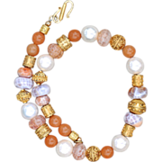 24K Vermeil, Agate, Shell Pearl and Aventurine Necklace