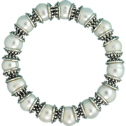 Cultured Freshwater Pearl and Pewter Dotted Bead Cap Bracelet
