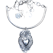 Handmade Fine Silver Sacred Heart in Flames Collar Necklace