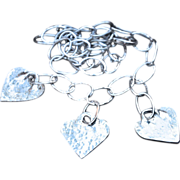 Molded .999 Fine Silver Hammered Heart Necklace