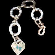 Fine Silver .999 Custom Artisan Made Hand-Patinaed Heart Bracelet