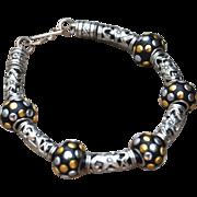 Beautiful Black and Silver Tone Bracelet