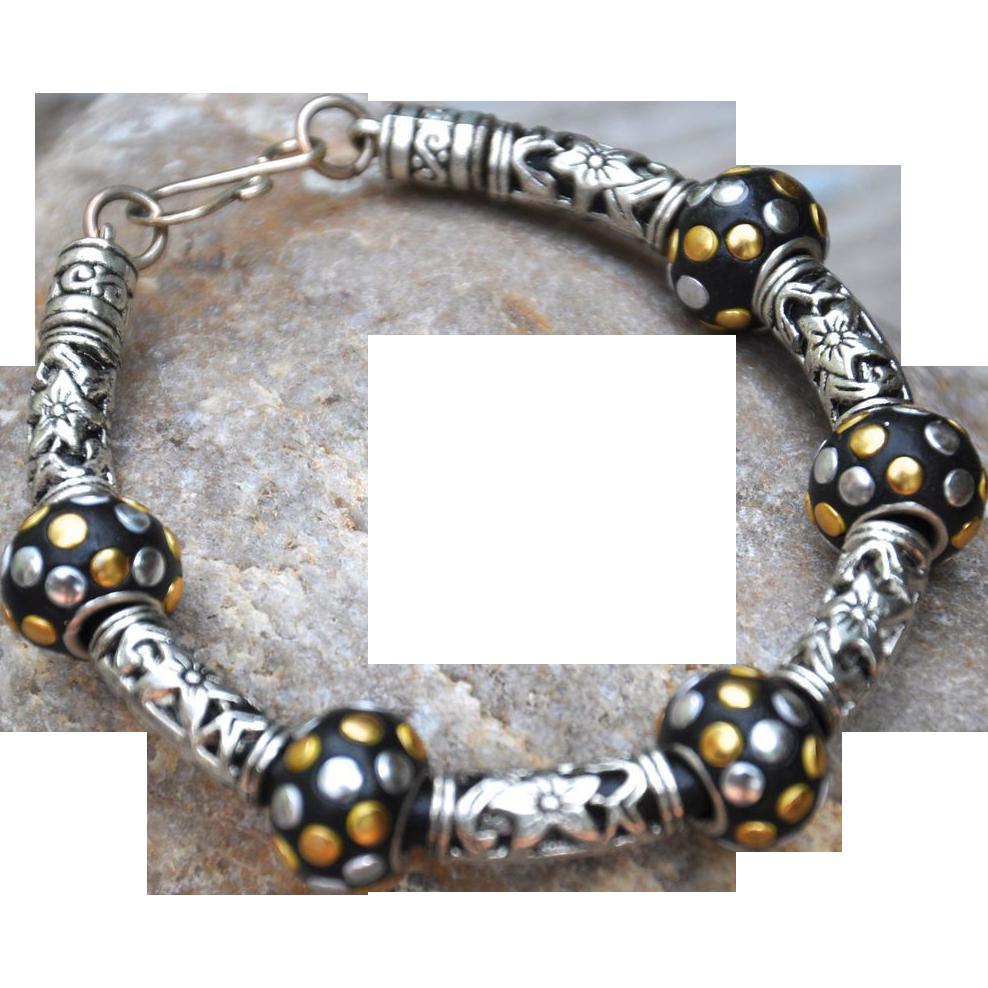 Beautiful Black and Silver Tone Bracelet : B.BOLD Jewelry ...
