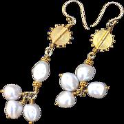 24K Gold Vermeil Freshwater, Cultured Baroque Pearl Earrings