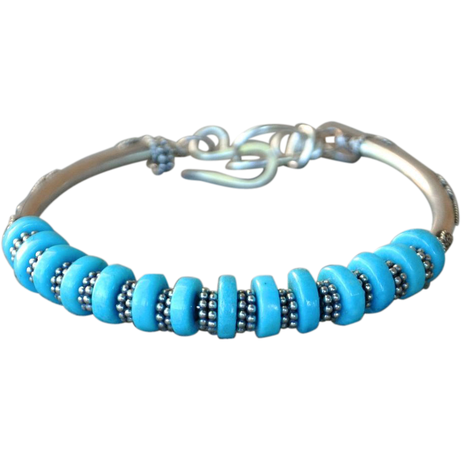 sterling silver 925 citos turquoise bracelet from